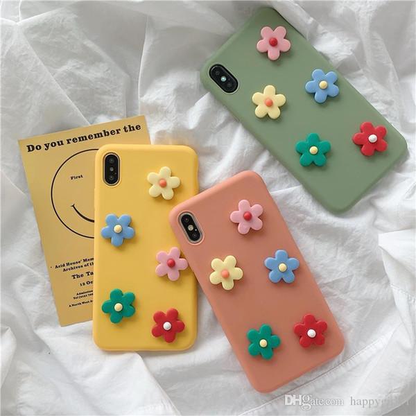Мода Симпатичные 3D Цветы Телефон Чехол Для iphone XS Max XR X Чехол Для iphone 6 6 s 7 8 плюс Мода Цветочный Узор Мягкие Задние Чехлы многоцветный