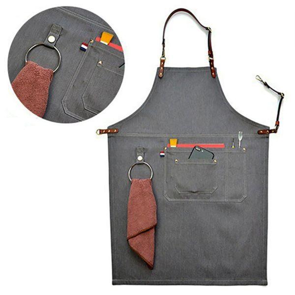 Senior Denim Cowboy Bbq Delantal Babero Correas de cuero Delantal de cocina para mujeres Hombres Barbero Cocina Restaurante Camarera