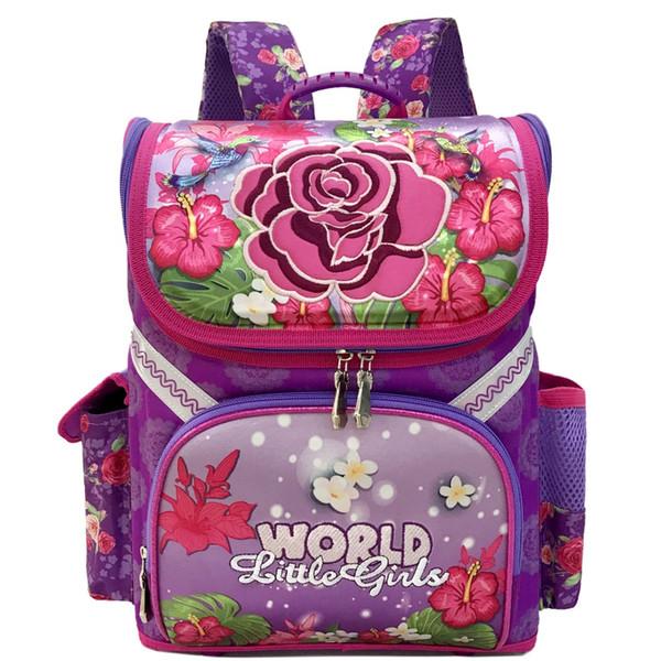 Girls Rose Flower Butterfly Pattern School Bags Boys Racing Cars Children's Backpack Waterproof Orthopedic Satchel Kids Book Bag