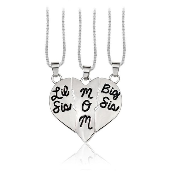 3 Pcs/Set Heart Necklace Big Sis Mom Little Sis Carved Pendant For Mother's Day Gifts Women Jewelry Charms Family Daughter