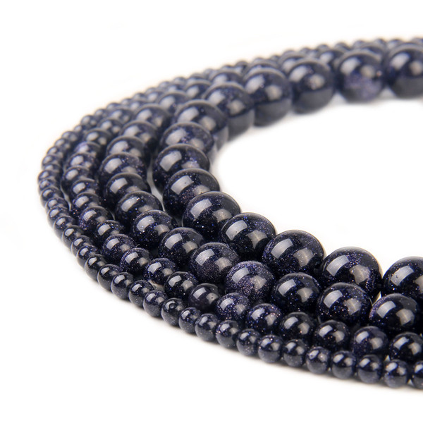 Natural Stone Blue Sand Goldstone Beads Gemstone Round Loose Beads for DIY Bracelet Earring Jewelry Making one strand Unisex