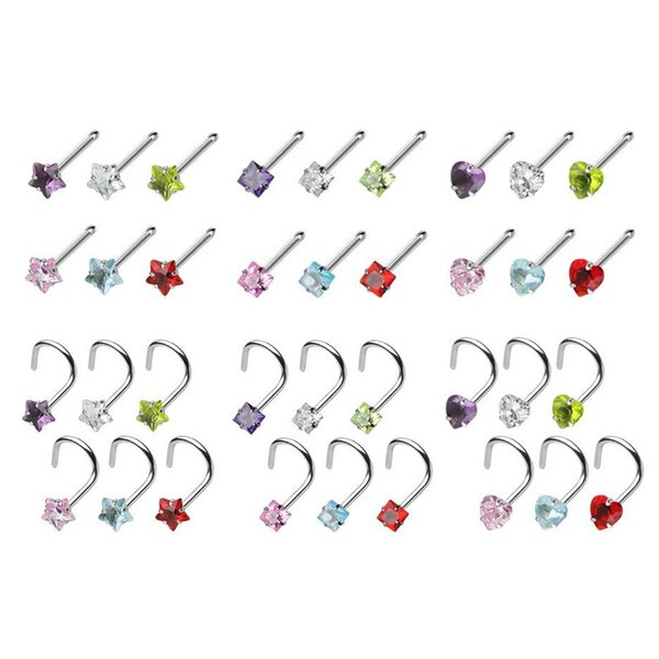 18piece Assorted Shapes CZ Crystal Nose Bone Stud Set Surgical Stainless Steel Nose Screw Ring Bend Nostril Piercing 20G (0.8mm)