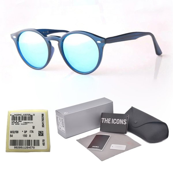 Brand Designer Round Sunglasses Men Women plank frame Metal hinge ( glass lens ) Retro Vintage eyewear shades Sun glasses with cases and box