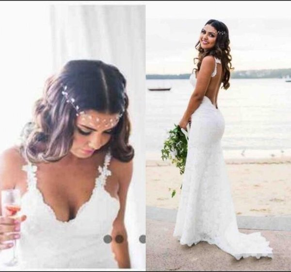 Simple Country Style Hoho Wedding Dress Deep V Neck Backless plus size cheap lace bohemian wedding dresses bridal gowns