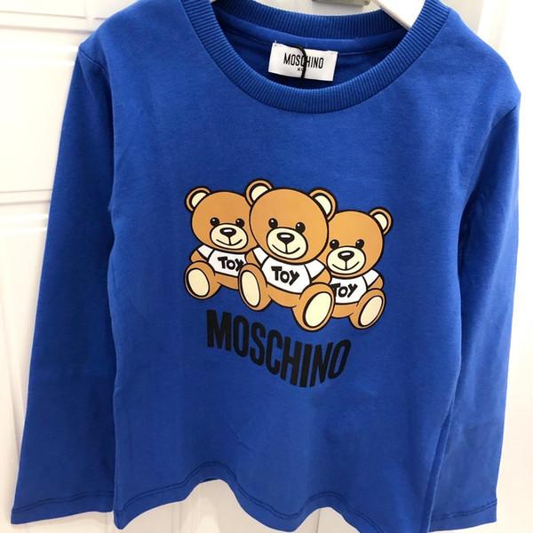 110-140cm Sudaderas con capucha de diseño para niños Tops para niños 2019 Explosion Boy Sweaters Pullover Tops para niños Luxury Girl Sweater Bear Pattern Fashion Letter -