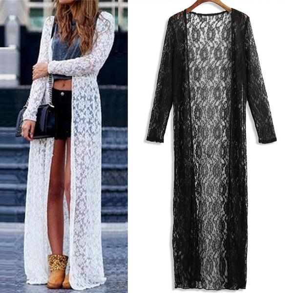 2019 Boho Sommer Frauen Kimono Cardigan Elegant Sheer Mesh Spitze Weiß Schwarz Lange Vertuschen 5XL Plus Größe Bluse und Tops Blusa