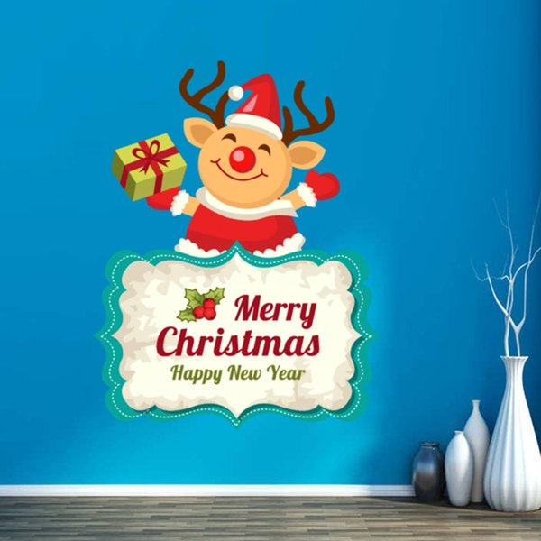 hristmas Decorations with Creative Cheerful Elk Merry Christmas Illustration Sticker Vinyl Waterproof Wall PVC Sticker Wallpaper Removable
