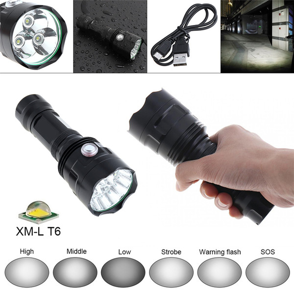 T6 LED Flashlight Portable USB Charging High Power Tactical Flashlight 6 Modes Dimming torch Camping Light