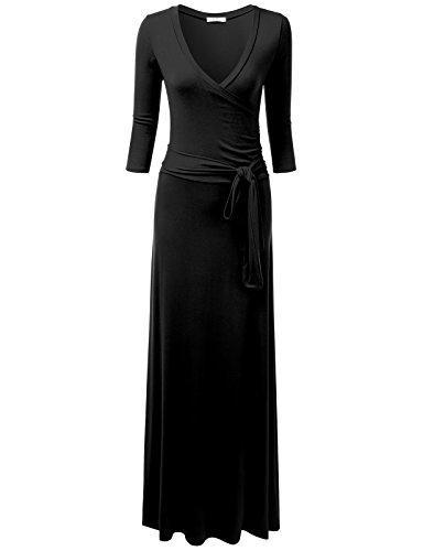 Ninxis Kadın V Yaka 3/4 Kol Bel Wrap Ön Maxi Elbise