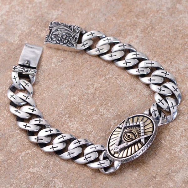 Wholesale Rhodium Plated 925 Sterling Silver Chunky Curb Chain Men Bracelet with Golden Eye Design Charm