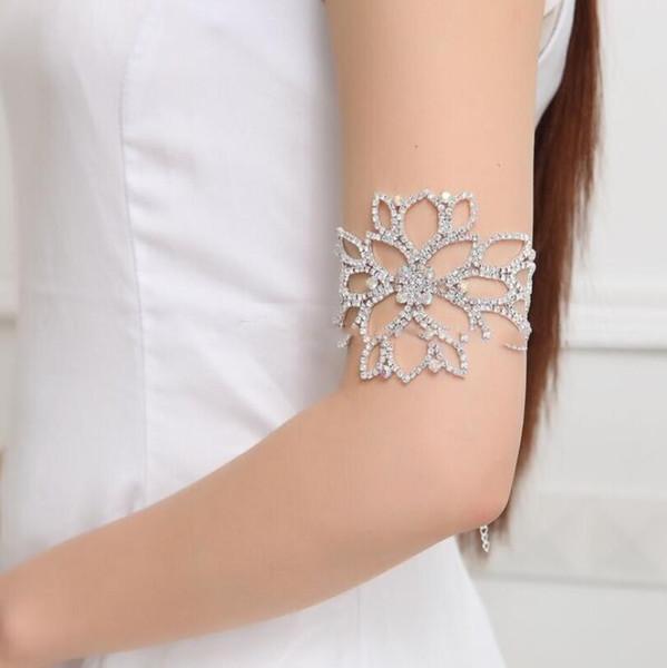Fashion Woman Anklet Bridal Wedding Arm Anklet Jewelry Crystal Rhinestone Bridal Bracelet Wristband Harness Cuff Bracelets For Women