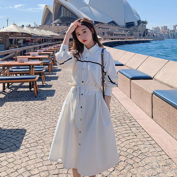 2019 новый женский стиль рубашки длинные случайные тонкий плащ однобортный хлопок корейский стиль пальто для женщин D35