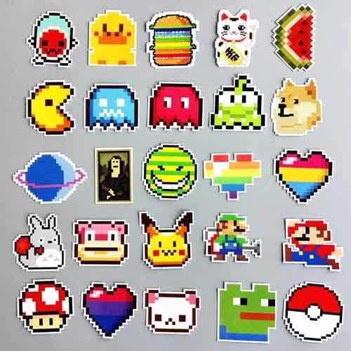 25Pcs/lot No Repeat Pixel Cartoon Game Fashion Sticker For Car Laptop Luggage Skateboard Cup Bottle Notebook Decals Patches Children Kids