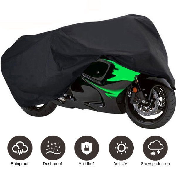 2XL / 3XL / 4XL Coprimoto universale per moto Protezione UV esterna per bici nera Copertura antipioggia impermeabile per moto