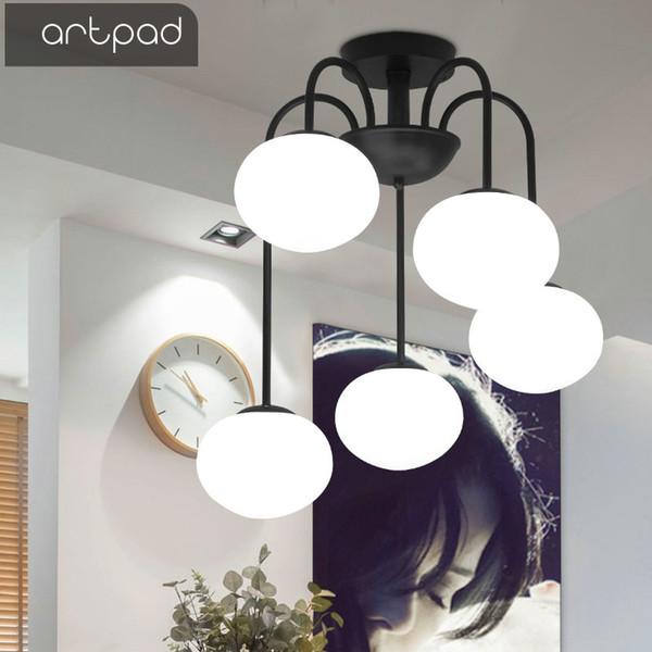 Compre Artpad Arte Moderno Dormitorio Luces De Techo Para Comedor Sala De  Estar Hierro E27 LED Montaje En Superficie Lámpara De Techo Colgante Blanco  ...