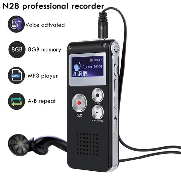 La voz del sonido Pen N28 recargable 4 GB 8 GB Mini USB Flash Digital Audio Recorder con reproductor de MP3 dictáfono 650Hr Teléfono