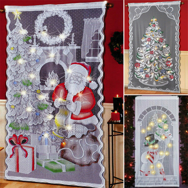 Christmas Decorations Home Christmas Lace Curtain Led Light Up Window Door Cloth Xmas Gift Home Party Decor New Year Decorative Christmas Ornaments