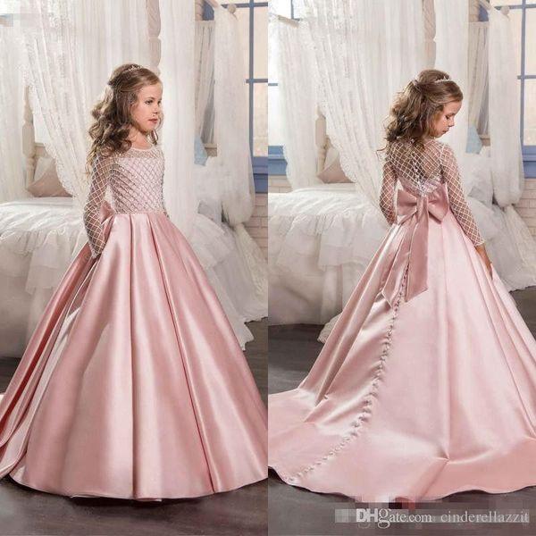 2019 Impressionante Rosa Vestidos Da Menina de Flor para Casamentos Crianças Manga Comprida Vestido de Comunhão Beads vestido De Baile Meninas Pageant Vestidos