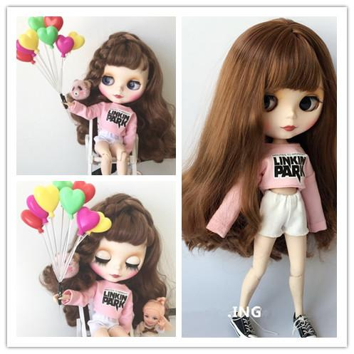 2pcs/set Blyth Doll Clothes Casual Pink T-shirt + Denim Shorts Clothes Pullip Shirt for 1/6 Doll Clothing Accessories for Barbie