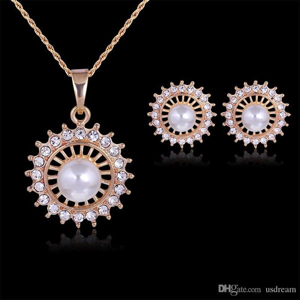 Crystal Pearl Flower Necklace Earrings Jewelry Sets Gold Chain for Women Wedding Bridesmaid Jewelry Gift 162173