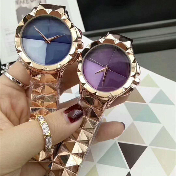 New Fashion dress Wristwatch Colorful Brand C Butterfly buckle clock Quartz Watches Women Clock Full Stainless Steel special dial face