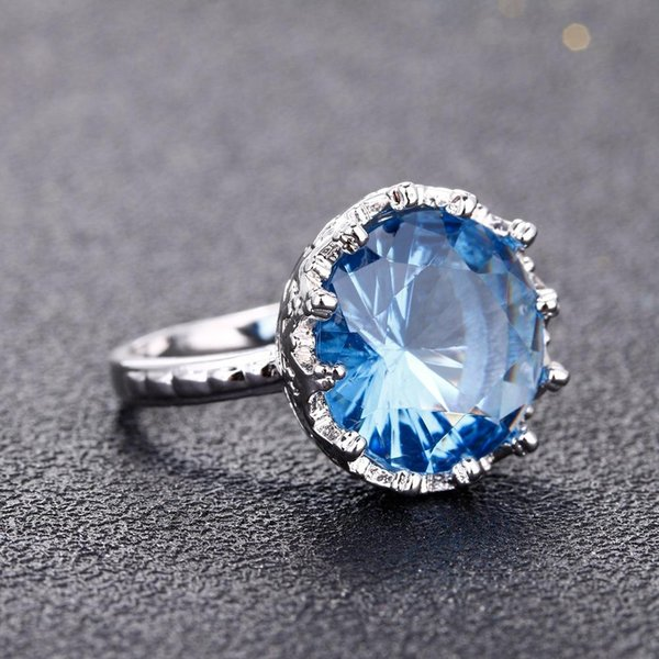 newBlue Gem Stone Rings Silver Color Wedding Engagement Rings for Women Finger Brand Jewelry for Women Created Blue Crystal Ring