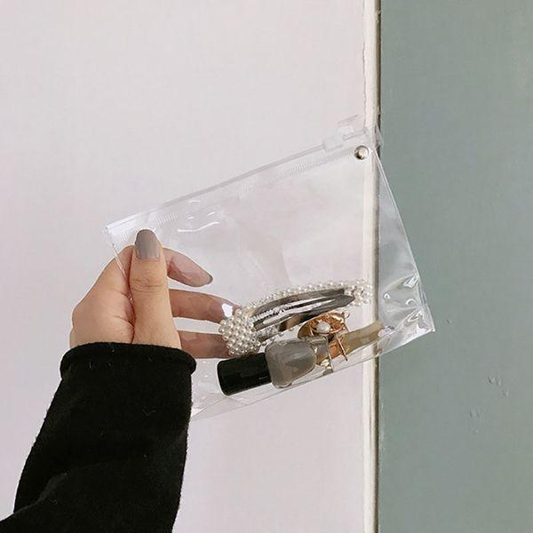 Moda Transparente À Prova D 'Água PVC Sacos de Embalagem Sacos De Armazenamento De Plástico Com Zíper de Viagem Para Casa Maquiagem Cosméticos Organizador de Higiene Pessoal Caso