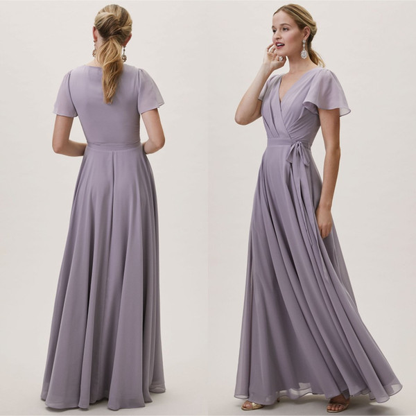 V Neck Chiffon Lavender Short Sleeve Junior Bridesmaid Dresses 2019 Boho  Maid Of The Bride Evening Gowns Formal Occasion Wear Plus Size Dresses ...