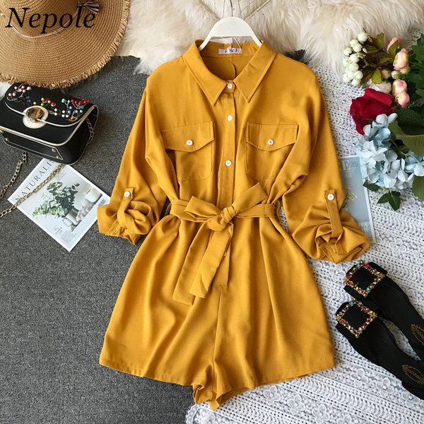 Nepole Solid Sashes Safari Style Women Body 2019 Symmer New Fashion Pockets Jumpsuit Single Breasted Modis Girl Cloth 80001