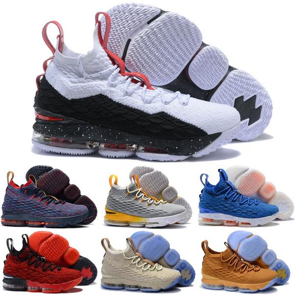 Barato o que o lebron 15 basquete mens sapatos para venda flores de natal BHM Oreo juventude crianças geração tênis