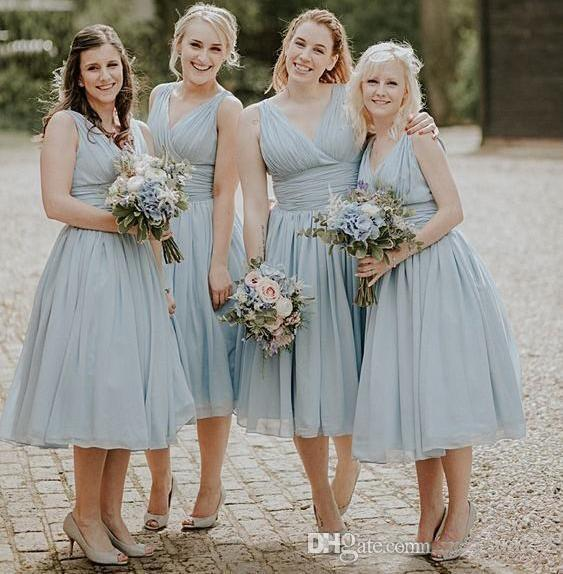 2019 Sexy V Neck Country Bridesmaid Dresses Draped Beach Wedding Guest Gowns Tea Length Maid Of Honor Custom Made Formal Party Dresses