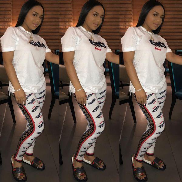 2019 F Letter Print Women Tracksuit Short Sleeve Top + Pants 2pcs Sets NightClub Fashion Ladies Two Piece Outfits Jogging Suits S-XXL B442