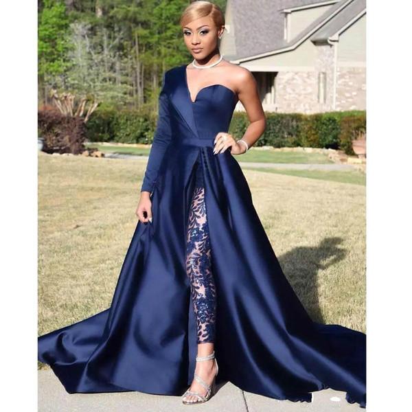 Elegant One Shoulder Long Sleeve Jumpsuit Prom Dresses A Line Navy Blue Front Split Evening Party Gowns Pant Suit Celebrity Dresses BC0282