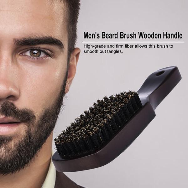 Männer Bartbürste Gesichtshaarbürste Rasieren Kamm Männlicher Schnurrbart Massivholz Griff