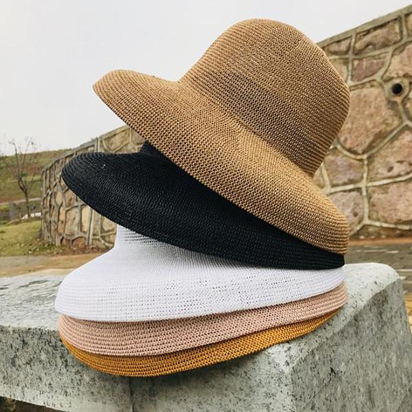 Hats wholesale simple casual joker bell straw hat women summer elegant retro Hepburn style sun hat fisherman hat