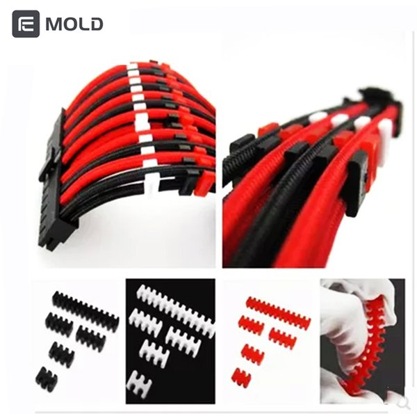 Comb line CPU GPU Extension cable combo, Black,Red,White Wire diameter 2.3mm 3.3mm Cut line machine water cooler gadget tools