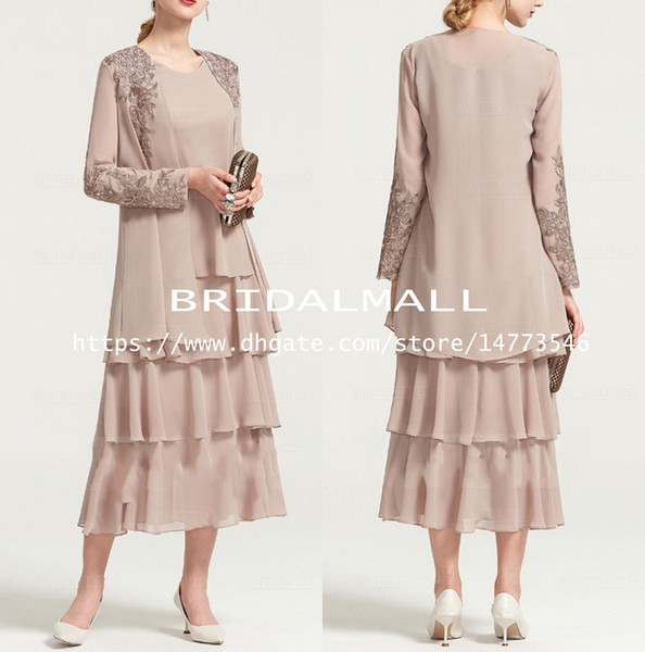 Plus Size 2019 Appliqued Nude Chiffon Tea Length Mother of The Bride Dresses With Long Coat Mother Suits Tiers Skirts Formal Evening Gowns