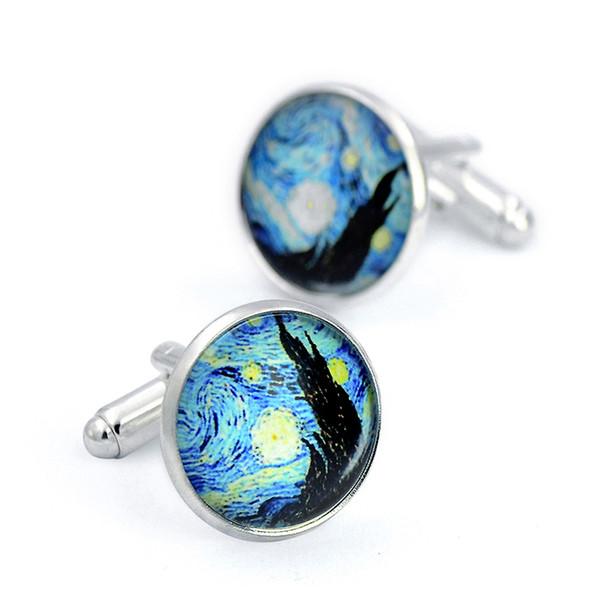 hommes cercle cercle nuit étoilée classique boutons de manchette baroques peintre élégant bleu étoile ciel peinture à l'huile français manche boutons artiste