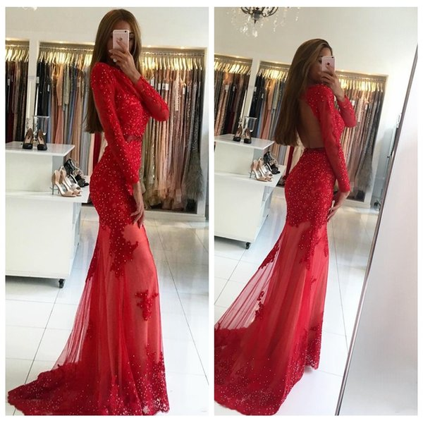 2019 Sexy Scoop Neck Long Sleeves Mermaid Prom Dresses Red Lace Appliques Slim Petite Beaded Backless Ladies Evening Party Gowns Custom