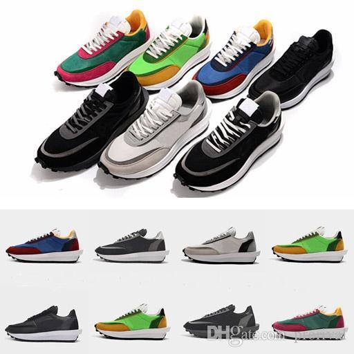 2019 Nuevo Sacai LDV Waffle Zapatos para correr Mujeres Hombres Zapatillas de deporte de diseño Zapatillas Verde pino Gusto Varsity Blue des Chaussures Schuhe Zapatos