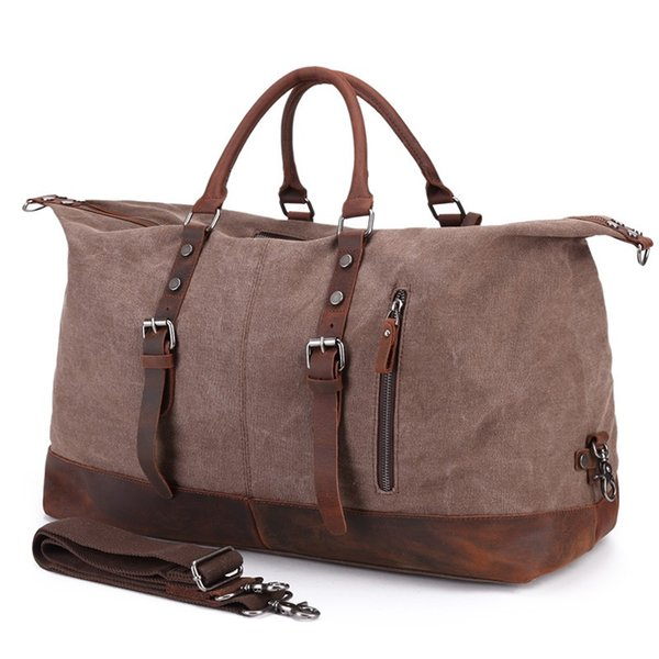Oversized Wearproof Canvas Leather Travel Duffle Bags Large Weekend Bag Big Travel Handbags Folding Trip Bags