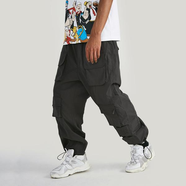 Mens Designer Hip Hop Calças Corredor De Carga Relaxado Patchwork Múltiplas Bolsos Elástico Na Cintura Feixe Calças Pés Calças Duas Cores Transporte da gota