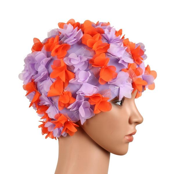 Blütenblätter Badekappe Hut freie Größe für Frauen Blütenblätter Badekappe