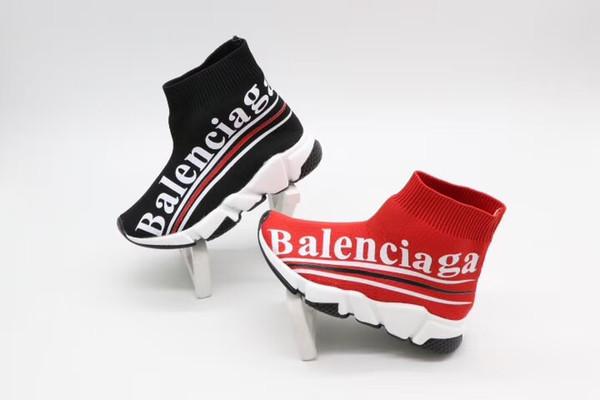 Las botas negras para niños se deslizan para el bebé niña vestido de niña grande diseño de la letra zapatillas de deporte de la manera deporte atlético zapatillas de deporte EU 26-35