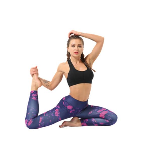 Yoga Pants New Fashion Trendy Clothing Women Fitness Workout Running Gym Slim Digital Print High Waist Leggings Rose Pink Sportwear 9339