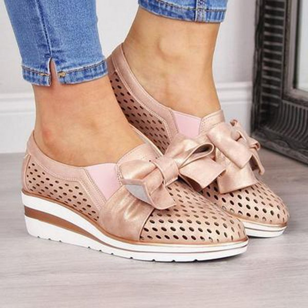 Litthing Ayakkabı Kadınlar Nefes Bow Hollow Yumuşak Günlük Ayakkabılar Bayanlar ilmek Platformu Sneakers takozlar Loafers Slip On
