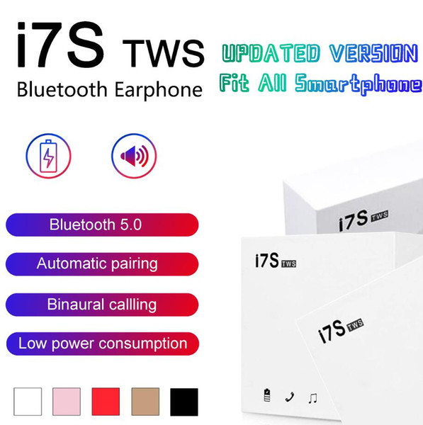 top popular I7S TWS Twins Bluetooth headphones wireless Earbuds Mini Wireless Earphones Headset headphones with Mic Stereo DHL 2019
