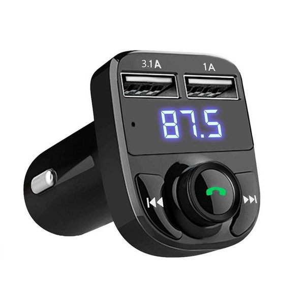 top popular Car Kit Handsfree Wireless Bluetooth FM Transmitter LCD MP3 Player USB Charger Mussic Player for iPhone 7 Samsung Huawei Xiaomi 2019