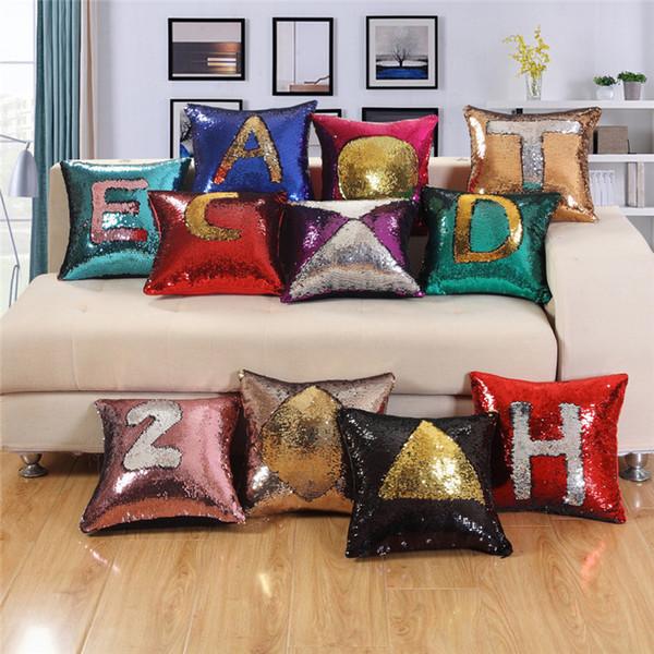 37 colori scintillio di paillettes federa scintillio sirena cuscino della copertura del cuscino magico tiro cuscino caso casa auto decorativi divano federa