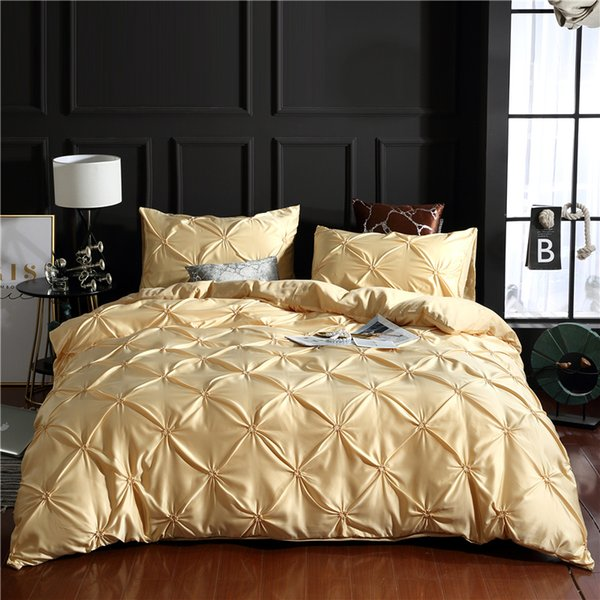 100% Super Soft Microfiber Yellow Luxury Washed Silk Duvet Cover Set 3Pcs/Set Pinch Pleat Brief Bedding Sets Queen King Size